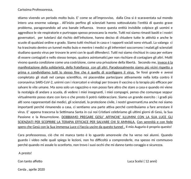 Riflessioni di Luca Scelsi, 12 anni aprile 2020
